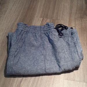 Navy Blue Linen Pants - Large 12-14
